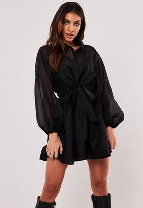 Missguided Black Organza Balloon Sleeve Shirt Dress