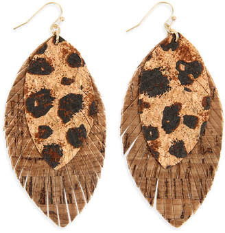 Riah Fashion Women's Necklaces BROWN - Brown Leopard Fringe Drop Earrings