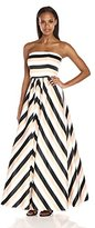 Betsy & Adam Women's Chevron Stripe Ballgown