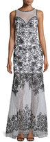 Sue Wong Sleeveless Embroidered Gown W/ Sheer Detail, White/Black