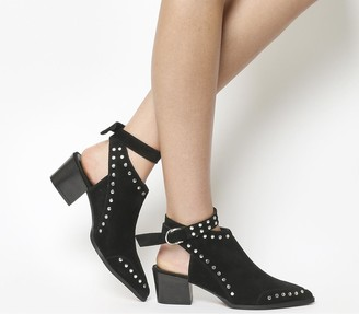Office Ascend Cut Out Ankle Strap Boots Black Suede Silver Studs