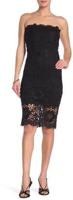 Jump Strapless Crochet Lace Midi Dress