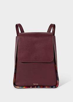 Women's Burgundy Leather Flap Backpack With 'Swirl' Trims