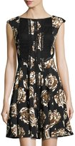 Taylor Fit-and-Flare Floral-Print Scuba Dress, Black