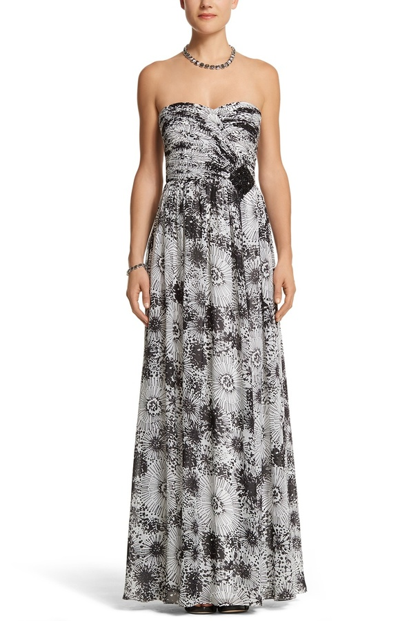 White House Black Market Strapless Sweetheart Printed Gown
