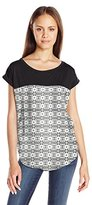 Jolt Women's Knit to Woven Printed Georgette Top
