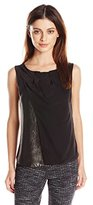 Armani Jeans Women's Top Silk Pleated Neck Sleevless Shell