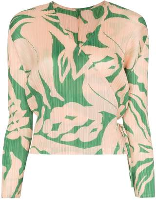 Pleats Please Issey Miyake printed plissé blouse
