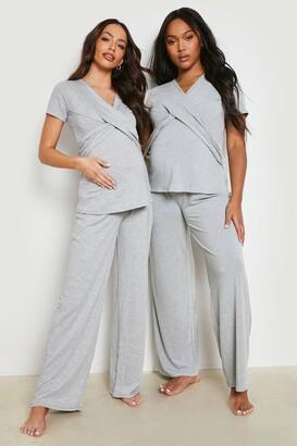 boohoo Maternity Wrap Front Nursing Pajama Pants Set