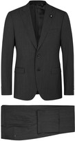 Lardini Grey Stretch Wool Suit