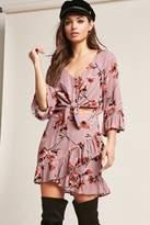 Forever 21 Floral Crepe Ruffle-Trim Skirt