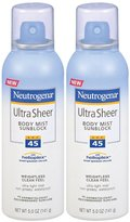 Neutrogena Ultra Sheer Body Mist SPF 45-5 oz, 2 pack