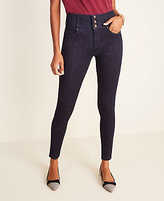 Ann Taylor Curvy Sculpting Pocket High Rise Skinny Jeans in Classic Rinse Wash