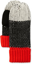 Neiman Marcus Zingy Knit Printed Mittens, Black/White/Red