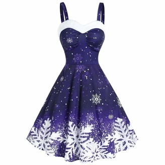 Younthone Women's Old-Fashioned Elegant Rock and Roll Retro Pattern Printed Cocktail Party Rocking Dress Christmas Sugar A-Line Skirt Belt Dress