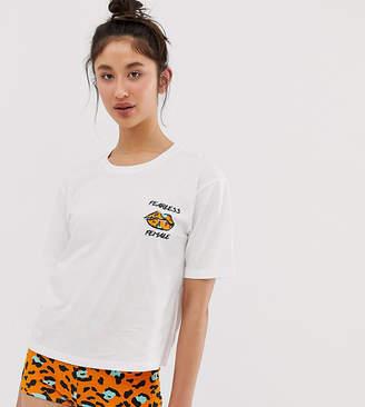 Asos Tall DESIGN Tall girl power animal pyjama short set