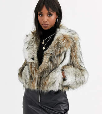 Asos Tall DESIGN Tall vintage inspired faux fur coat in brown