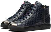 Ocean Pacific OPP Men's Casual Leather Sneaker Lace Up Cool Zipper Decor High Top Shoes Color Blue Size 10 D(M)