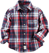 Carter's Long-Sleeve Red Plaid Woven Button-Front Shirt - Boys 4-8