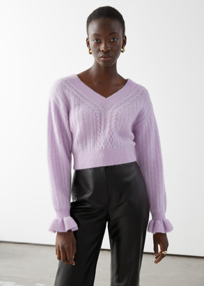 And other stories Cropped Boxy Cable Knit Sweater