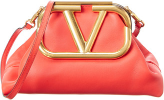 Valentino Supervee Leather Clutch