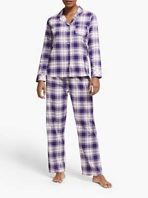John Lewis & Partners Eve Check Pyjama Set, Purple