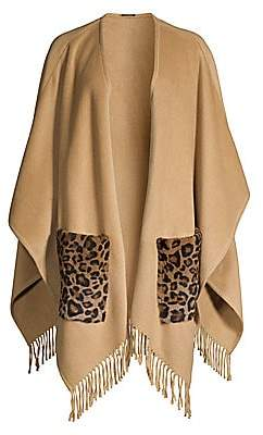 Elie Tahari Women's Carolina Leopard-Print Kangaroo Fur-Pocket Cape