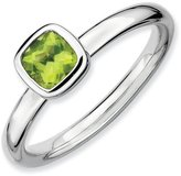Celtic Sterling Silver Stackable Expressions Cushion Cut Peridot Ring