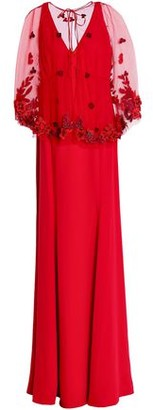 Marchesa Layered Embroidered Tulle And Crepe Gown