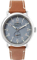 Shinola The Runwell 41mm Stainless Steel And Leather Watch - Brown