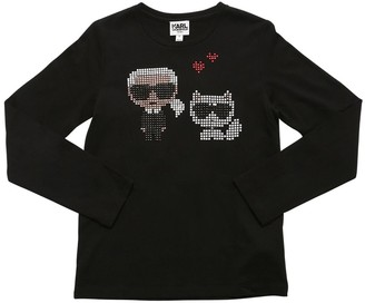 Karl Lagerfeld Paris Embellished Cotton Blend Jersey T-shirt