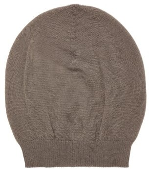 Rick Owens Ribbed-edge Cashmere Beanie Hat - Grey