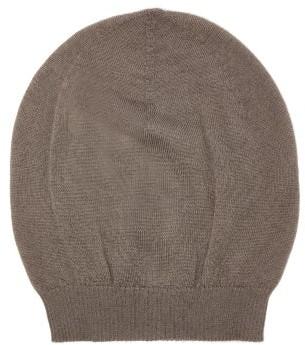 Rick Owens Ribbed-edge Cashmere Beanie Hat - Womens - Grey