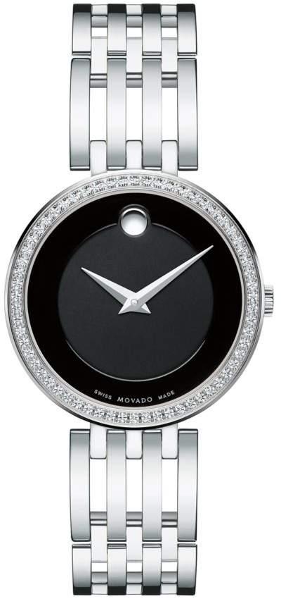 Movado Esperanza Diamond-Bezel Stainless Steel Bracelet Watch