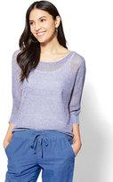 New York & Co. Mesh Hi-Lo Dolman Sweater