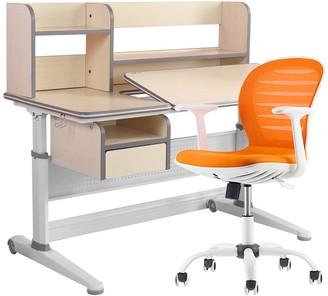 """Overstock Kids Study Desk 47"""" Adjustable Tiltable With Homeschool Orange Chair"""