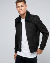 Selected Leather Flight Jacket with Removeable Fleece Collar