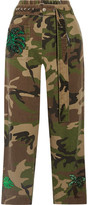 Marc Jacobs Embellished Camouflage-print Cotton-twill Tapered Pants - Green