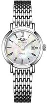 Rotary Women's Quartz Watch with Mother of Pearl Dial Analogue Display and Silver Stainless Steel Bracelet LB90153/07