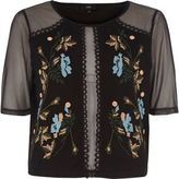River Island Womens Black embroidered mesh T-shirt