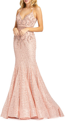 Mac Duggal Beaded Lace Trumpet Gown