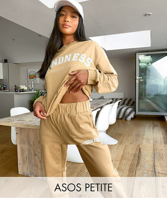 ASOS DESIGN Petite tracksuit oversized sweat with kindness slogan / oversized trackies in sand