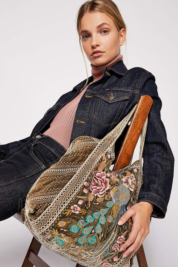 Johnny Was Moonlight Velvet Embroidered Tote