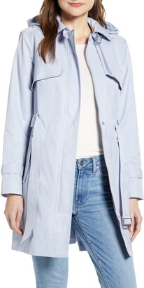 Cole Haan Faux Leather Trim Trench Coat