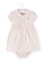 Ralph Lauren Childrenswear Cap-Sleeve Pima Polo Dress w/ Bloomers, Size 9-24 Months