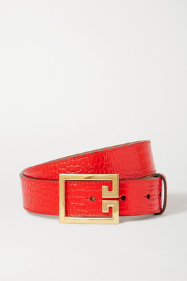 Givenchy Croc-effect Leather Belt - Red