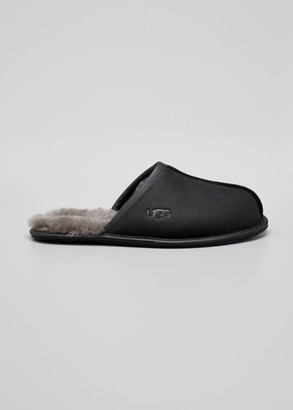 UGG Men's Scuff Leather Mule Slippers w/ Wool Lining