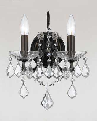 Swarovski Crystorama Filmore Two-Light Elements Crystal Bronze Sconce