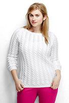Classic Women's Plus Size Drifter Pointelle Sweater-White