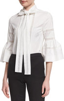 Carolina Herrera Bell-Sleeve Tie-Neck Cotton Blouse, White